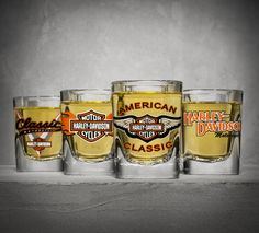 Toast to another year of riding. | Harley-Davidson Set of Four Classic Shot Glasses
