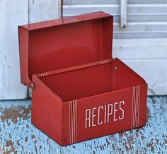 Vintage Red Tin Recipe Box by ivorybird on Etsy