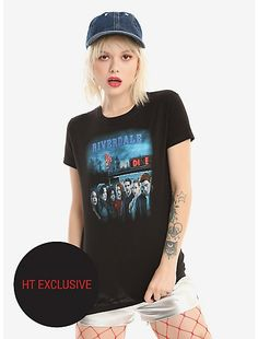 Hot Topic : Riverdale Group Diner Girls T-Shirt Hot Topic Exclusive Pops Diner, Riverdale Shirts, Fandom Fashion, Hot Topic, T Shirts For Women, Tees, How To Wear, Cotton, Girls