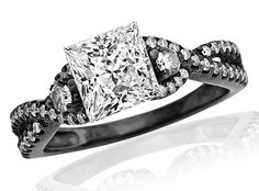 1.17 Carat Princess Cut Black Diamond Twisting Split Shank 3 Stone Diamond Engagement Ring (D-E Color, I1 Clarity)