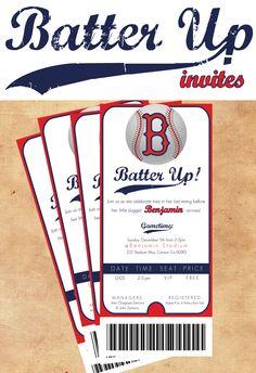 Baseball themed shower invite