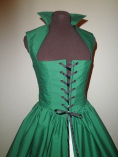 Hunter Green Irish Celtic Renaissance Overgown Dress by desree10