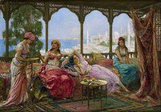 Fabio Fabbi (Italian, Title: Resting on a terrace overlooking a Middle Eastern coast Fantasy Kunst, Fantasy Art, Diy Art, Empire Ottoman, Victorian Paintings, Arabian Art, Turkish Art, Classical Art, Indian Paintings