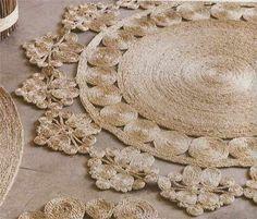 Diy - How to make Coiled Jute, Sisal, Twine or Cotton rope Designs (wall art/rugs etc. Rope Rug, Sisal Rope, Sisal Twine, Molduras Shabby Chic, Jute Crafts, Diy Crafts, Diy Tapis, Tshirt Garn, Diys