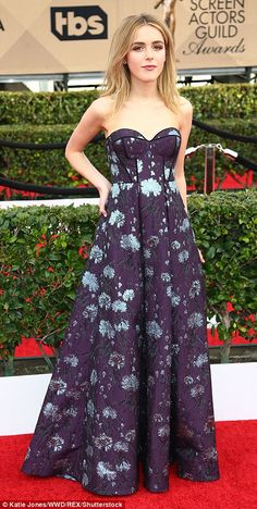 Anything goes: While Mad Men's Kiernan Shipka (L) wore an elegant purple printed gown, Jes...