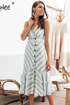 2019 Vintage striped women long dress summer V neck buttons ruffle linen dresses Linen Dresses, Cute Dresses, Vintage Dresses, Beautiful Dresses, Casual Dresses, Fashion Dresses, Fall Dresses, Women's Dresses, Long Summer Dresses