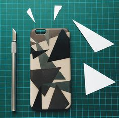Diphead Dee got crafty with Camo colors and funky triangles on an iPhone case!
