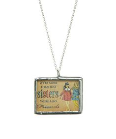 This Sterling Silver & Blue 'More Than Sisters' Pendant Necklace by Peppermint Charms is perfect! #zulilyfinds