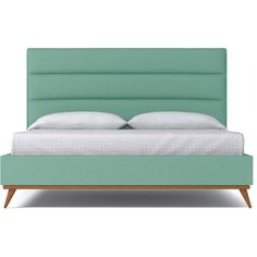 Apt2B Cooper Mint Green Upholstered Bed ($1,888) ❤ liked on Polyvore featuring home, furniture, beds, mint green furniture, king size platform bed, king bed, platform bedframe and upholstered bed