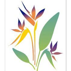 Stencil para Pintura 20 x - - Flor Strelitzia - OPA Stencil Art, Stencil Designs, Stenciling, Flower Outline, Flower Art, Flores Strelitzia, Landscape Art Quilts, Stained Glass Quilt, Rock Flowers