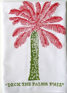 "Red & Green ""Deck The Palms Y'all"" Kitchen Towel: Beach Decor, Coastal Home Decor, Nautical Decor, Tropical Island Decor & Beach Cottage Furnishings by harriet Coastal Christmas Decor, Nautical Christmas, Coastal Decor, Winter Christmas, Christmas Home, Purple Christmas, Christmas Island, Christmas Crafts, Coastal Style"