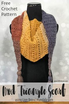 -FREE CROCHET PATTERN- This modern triangle scarf uses just one skein of Lion Brand Mandala yarn and incorporates some beautiful texture. Make this as a stylish accessory for your fall and winter wardrobe. Crochet Afghans, One Skein Crochet, Afghan Crochet Patterns, Crochet Scarves, Crochet Shawl, Crochet Clothes, Knitting Patterns, Scarf Patterns, Knitting Projects