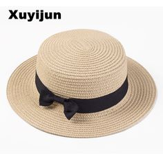 4d1739f6a Xuyijun Lady Boater sun caps Ribbon Round Flat Top Straw beach hat Panama  Hat summer hats for women straw hat snapback gorras [orc32666664107] -  $29.51 : ...