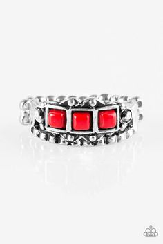 """Paparazzi """"Color Me EMPRESSed!"""" Red Bead Silver Tone Ring"""