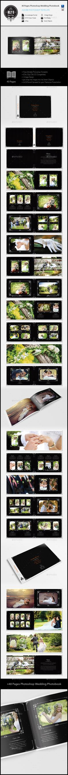 40 Pages Photoshop Wedding Photobook Template