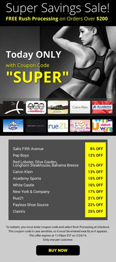 Super Savings Sale: FREE Rush Processing + Saks Fifth Avenue 8% OFF, Calvin Klein 13% OFF, Academy Sports 15% OFF