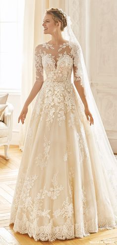 La Sposa 2019 Wedding Dresses - World of Bridal - Princess skirt in tulle and lace with floral thread embroidery, Tulle and lace bodice with thread e - Illusion Neckline Wedding Dress, Wedding Dress Necklines, Illusion Dress, Necklines For Dresses, Wedding Dress Sleeves, Dresses With Sleeves, Lace Bodice, Wedding Dresses For Older Women, Country Wedding Dresses
