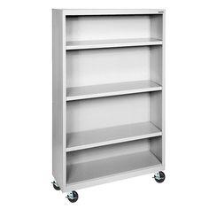 "AmazonSmile: Sandusky Lee BM30361852-05 Dove Gray Steel Mobile Book Case, 3 Adjustable Shelves, 58"" Height x 36"" Width x 18"" Depth: Industrial & Scientific"