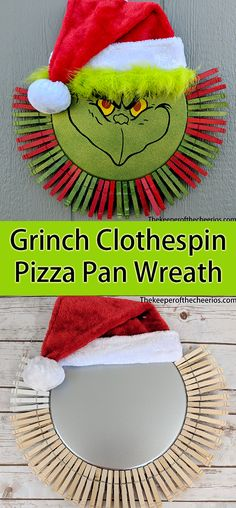 the Rainbow Christmas Tree year? Grinch Clothespin Pizza Pan Wreath - The Keeper of the Cheerios Grinch Christmas Decorations, Grinch Ornaments, Grinch Christmas Party, Kids Christmas, Prim Christmas, Grinch Party, Christmas Trees, Christmas Island, Christmas Vacation