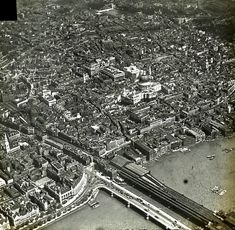 Blackfriars Bridge & St Paul's; glass slides of aerial views from the collection of the London & Middlesex Archaeological Society at the Bishopsgate Institute a century ago.: http://spitalfieldslife.com/