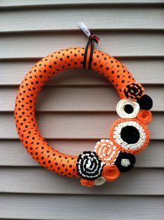 Halloween Wreath  Fall Wreath  Black & Orange by stringnthings, $42.00