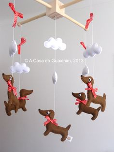 Baby Mobile Dachshund by acasadoguaxinim on Etsy, €35.00