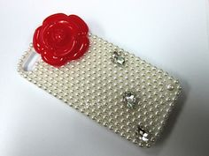 Red Camellia flower decor pearl beads phone case cover for iphone 4 iphone 4S iPhone 5 samsung S3 Samsung Note 2. $17.99, via Etsy.