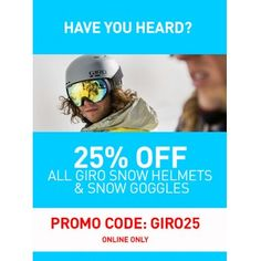 All Giro Snow Helmets & Snow Goggles @ Hyper Ride 25% Off - Bargain Bro