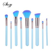 9pcs Full Set Blue Women Makeup Brush Kit Superior Professional Soft Cosmetic Brushes for Makeup-MB024(China (Mainland))