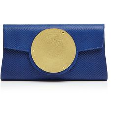 Dareen Hakim Collection Le Icon Clutch ($355) ❤ liked on Polyvore featuring bags, handbags, clutches, cobalt python, genuine leather handbags, snake print handbag, blue clutches, genuine leather purse and snake skin purse