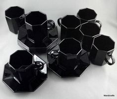 GreatBlack Octime Octagonal GlassDemi Tasse Cup Saucer Set of 8 - by:Arcoroc France Octime Pattern - 3 oz capacity - 2 3/8 inches tall - 4 1/8 inch diameter saucer - Very Good Condition.
