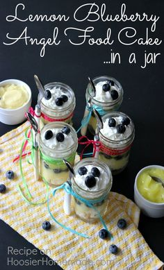Lemon Blueberry Angel Food Cake in a Jar :: Recipe on HoosierHomemade.com summer picnic, jar recipes, lemon blueberri, angel food, mason jar desserts, mason jars, healthy desserts, blueberri angel, food cakes