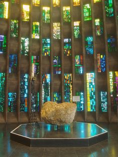 Baptismal Font, Coventry Cathedral by Aidan McRae Thomson, via Flickr. The font is made of a boulder from the area around Bethlehem, Israel. Coventry Cathedral, Norwich Cathedral, Anglican Cathedral, Cathedral Church, Sacred Architecture, Religious Architecture, Church Architecture, Coventry Blitz, Michael Church