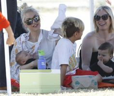 Singer Gwen Stefani and her nanny take her boys Kingston, Zuma and Apollo to Zuma's flag football game