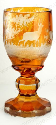 Antique Amber Glass. Biedermeier goblet vase engraved with a stag and deer, c.1910. To visit my website click here: http://www.richardhoppe.co.uk or for help or information email us here: info@richardhoppe.co.uk