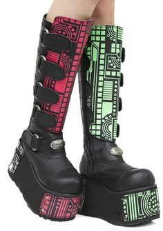 Demonia Hackerz Platform Boots cuz ya gotta boot up or shut up, bb! Bust into the mainframe in these sikk cyber boots featuring chunky platforms, velcro buckle straps with branded hardware, interchangeable microchip panels in red, green and white and inner-ankle zipper closures.