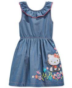 Hello Kitty Little Girls' Chambray Dress Kids Dress Wear, Toddler Girl Outfits, Toddler Girl Dresses, Little Girl Dresses, Kids Outfits, Girls Dresses, Little Girl Fashion, Kids Fashion, Hello Kitty Dress