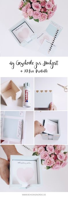 DIY Geschenke zur Hochzeit selber machen DIY gifts – make a gift for the wedding itself. 10 free template for notebook sheets to print. Cool Diy, Diy Wedding, Wedding Ideas, Diy Gifts, Bee, Christmas Gifts, Gift Wrapping, Hacks, Cool Stuff