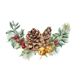 Hand painted snowberry and fir branches, red berries with leaves, pine cone, bells isolated on white background. Christmas illustration for design, print. Xmas Drawing, Christmas Drawing, Christmas Paintings, Christmas Art, Vintage Christmas, Christmas Decorations, Christmas Ornaments, Illustration Noel, Christmas Illustration