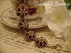 Lady Heather purple heather and gold bracelet beaded with