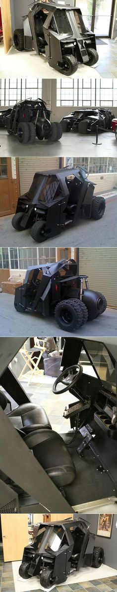 When Christian Bale roared down the road for the first time in the Tumbler, an aggressively revamped Batmobile, fans got giddy at the sheer size, heft, and sound of the beastly vehicle. You can capture just a hint of that feeling with a custom-made, slightly-less-intimidating Tumbler golf cart.