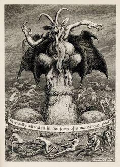 "Vintage art - Illustration of the Dark One by Frank C. Pape ""He usually attended in the form of a Monstrous Goat. Demon Art, Arte Horror, Horror Art, Art And Illustration, Dark Fantasy, Fantasy Art, Satanic Art, Arte Obscura, Occult Art"