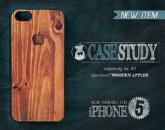 """iPhone 4 or 5 / 5s Phone Case - """"Wooden Apples"""" - Masculine wood grain printed on gloss finish w/ Apple icon. Valentines gift for him."""