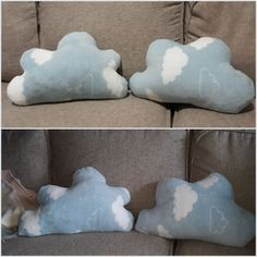 Cloud pillows made from a baby fleece blanket ... bottom pic is the first attempt and the top is the final outcome.