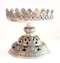 CIJ SALE Beautiful Vintage India Silver Detailed Ornate Candle Holder via Etsy