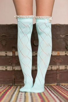 Pastel Blue Thigh High Boot Socks With Lace Trim. Free 3-7 days expedited shipping to U.S. Free first class word wide shipping. Customer service: help@moooh.net