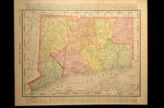 Antique Map Connecticut Early 1900s Original 1906 Detailed