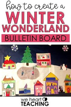 This winter bulletin board is super cute. Students brainstorm winter activities and holiday traditions. They the use measurement skills to create their own community! Winter Activities, Christmas Activities, Kindergarten Activities, Fun Activities, Classroom Decor Themes, Classroom Ideas, Classroom Organization, Winter Bulletin Boards, How To Make Snow