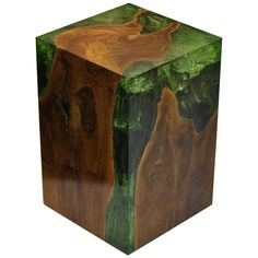 Modern Fractal Resin and Teak Stool or Side Table   From a unique collection of antique and modern stools at https://www.1stdibs.com/furniture/seating/stools/