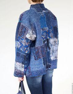 """Купить Куртка двухсторонняя валяная """"Васильковое поле"""". - синий, куртка, куртка валяная, войлок"""